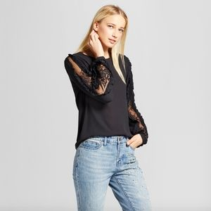 Who What Wear Long Sleeve Lace Inset Blouse Med